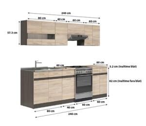Set Bucatarie Kring Yasmine 240x195,5x60 cm Stejar Sonoma2
